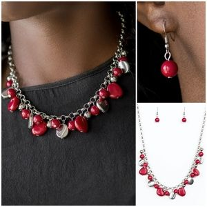 Paparazzi Flirtatiously Florida Red Necklace Set